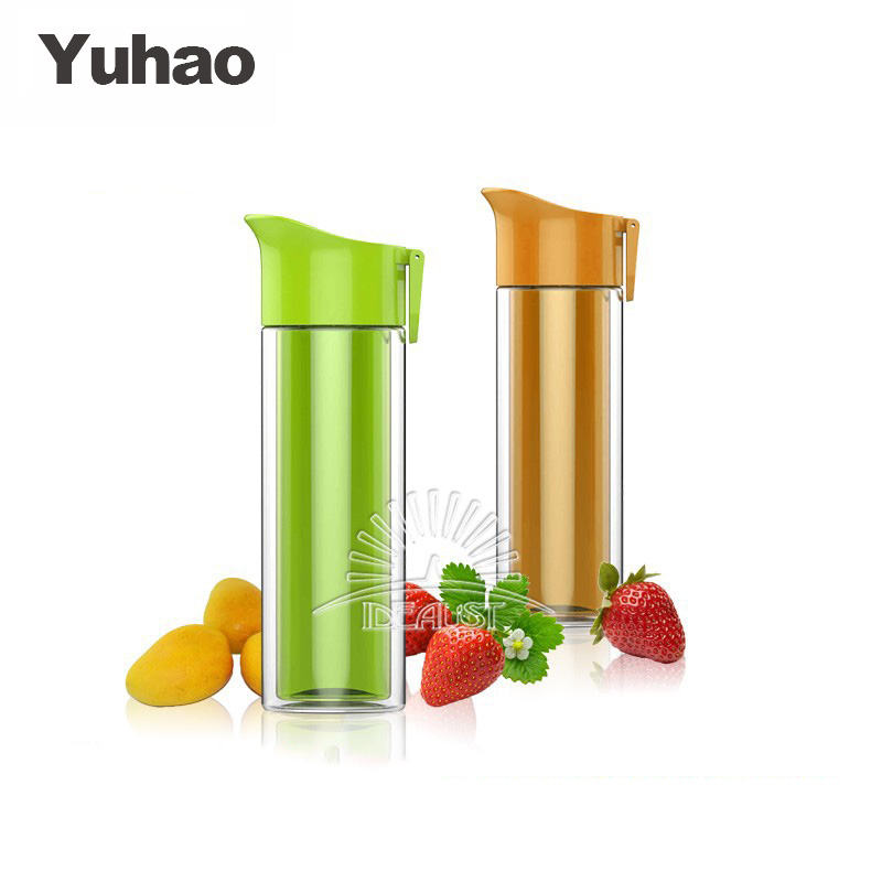 reusable travel plastic drinking double wall water bottle with handle