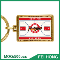 China Supplier advertising basketball printed metal promotion keychain