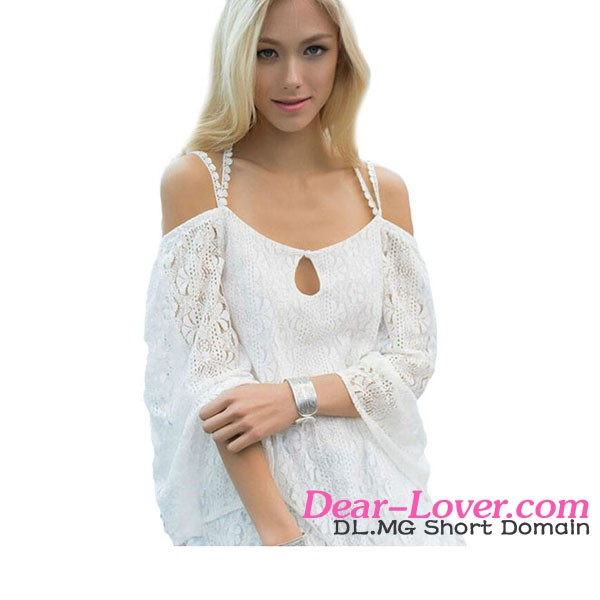 Fashion White Strappy Off Shoulder Lace Crochet Wholesale Beachwear