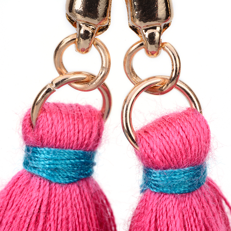 High Quality Jewelry Knot Pink Fringe Long Tassel Earrings For Women