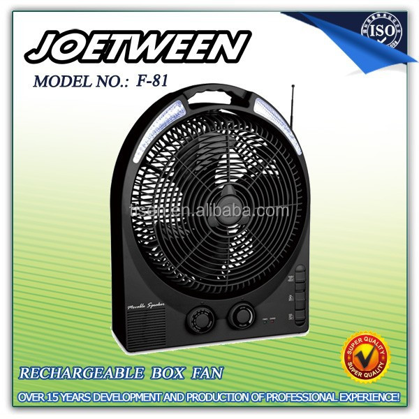 2015 hot sales rechargable table fan F81