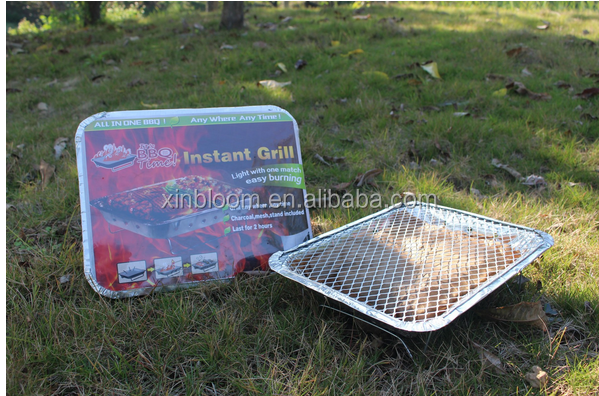 midle size 31x25cm outdoor portable disposable instant charcoal bbq brill