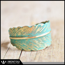 Adjustable Verdigris Feather Ring with Hand Forged Brass