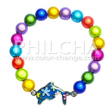 Color Change Mood Dolphin Charm Bracelet With Flower Patterns Accessory Miracle Beads