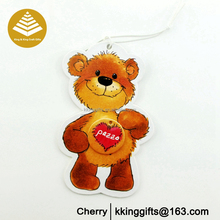 2016 new design!! Cute 3d mini bear animal hanging paper special car air freshener for gifts