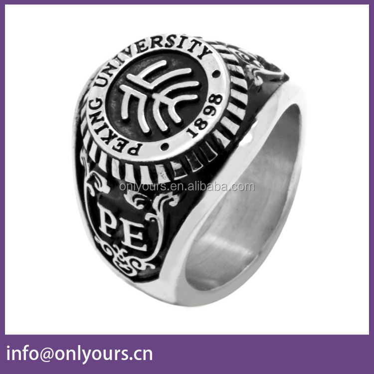 Fashion Stainless Steel University Graduation School Ring