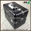 Black crocodile aluminum makeup case with powder box insert