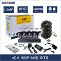 Full hd cctv camera 1.3mp 960P outdoor camera ahd dvr kit