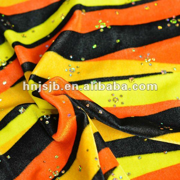 polyester printed silk plush velvet fabric /fleece fabric material