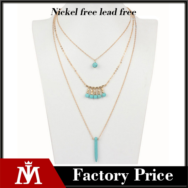 New design gold long chain collar 3 layer women fashion resin necklace