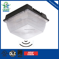 cULus and DLC Listed 80W LED Canopy Light/Gas Station Light Dimmable 100-277V AC/200-480V AC With Motion Sensor