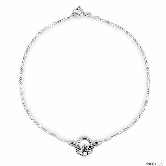Beautiful Chain Celtic Claddagh Heart Silver Anklet For Girls