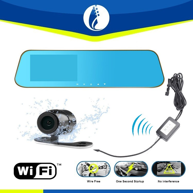 HD Car rear view mirror DVR black box + dual lens car cam+ wireless backup rear view Camera