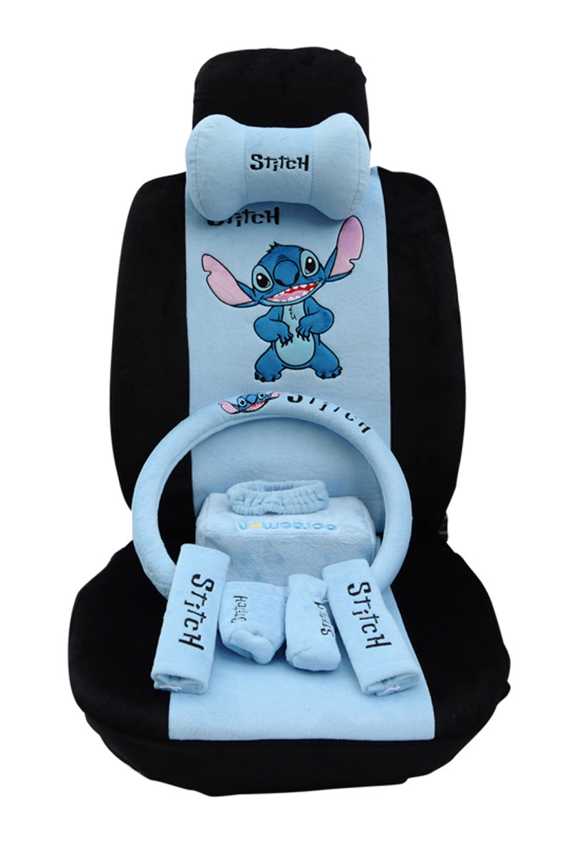 Buy Classic Cartoon Stitch Car Seat Covers Full Set 21s Blue Steering Wheel Cover Head Rest Universal In Cheap Price On Alibaba