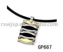 Stainless Steel, Gold and Rubber Advanced Dog Tag Necklace Pendant