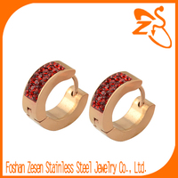 Trendy Casual Sparkle Gold Plated Ruby Zircon Crystal Hoop Jewelry Wholesale China