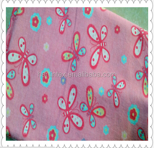 wholesale100% pigment printed flower/heart cotton flannel fabric for baby diaper/bedsheet/blanket