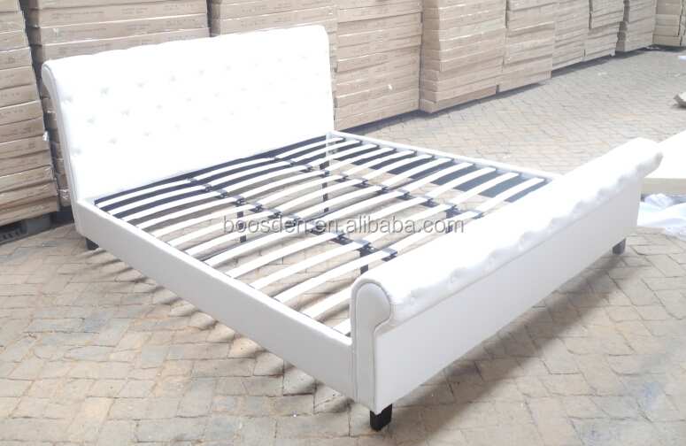hot selling handsome comfortable leather wooden double bed frame BSD-450103