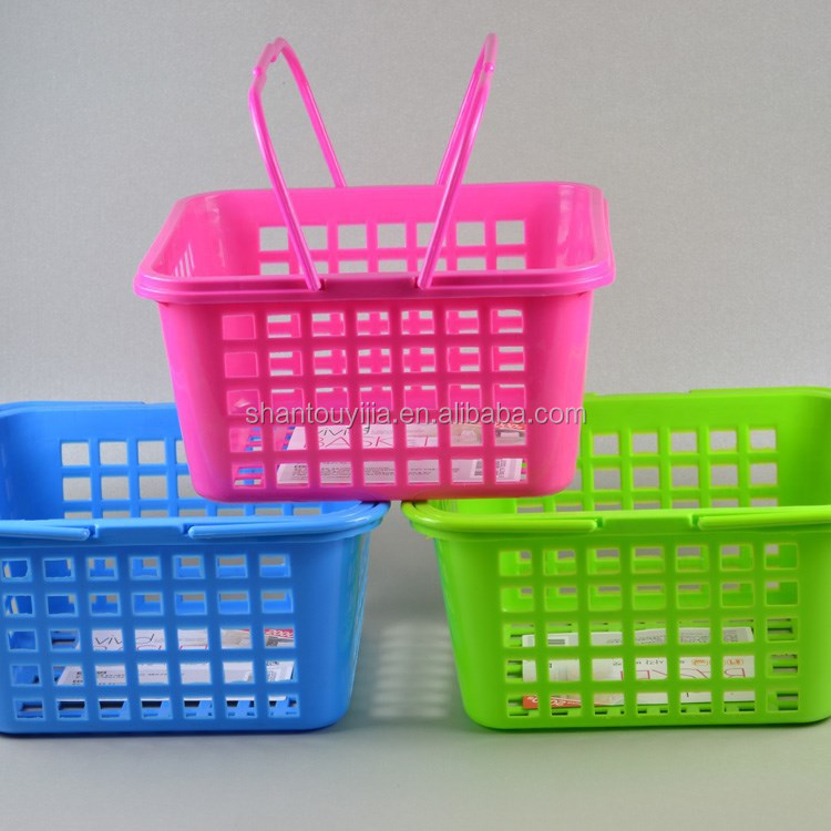 Colorful square plastic small basket with handle
