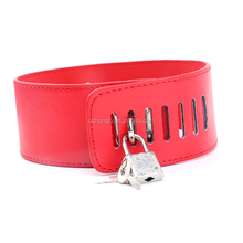 Adult fetish pron black red leahter dog slave adjustable sex bondage collar