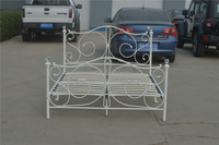 Modern and elegant metal double bed in white color