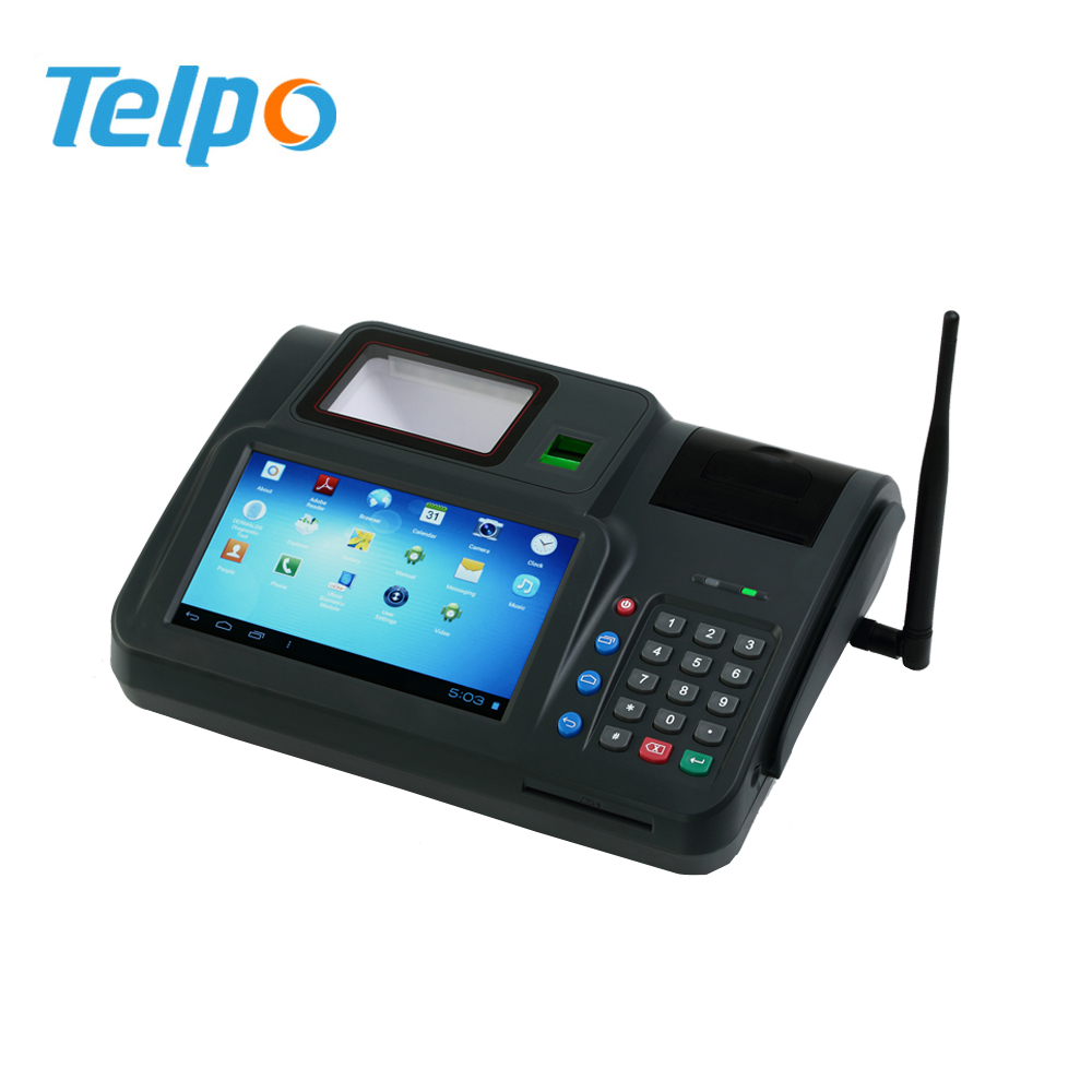 Telpo WIFI Bluetooth All in one dual SIM desktop NFC POS Tablet terminals with pos terminal antenna USB