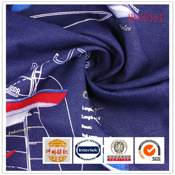 Woven plain sailing boat printed 65/35 cotton silk linen fabric for garment