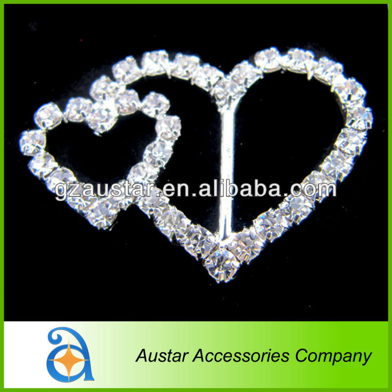 Hot sell! Double heart Diamante crystal rhinestone buckle for wedding invitations,chair sash buckle,chair cover ribbon slider