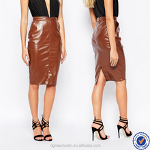 guangzhou skirt manufacturers ladies office uniform skirts shiny brown leather skirt