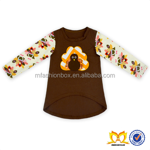 Autumn Thanksgiving Day 100% Cotton Long Sleeve Turkey Design Top For Kids Girl Clothing