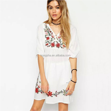 Mexican Embroidered Dress 2016 Bohemian Dresses Summer Boho Clothing HSD9375