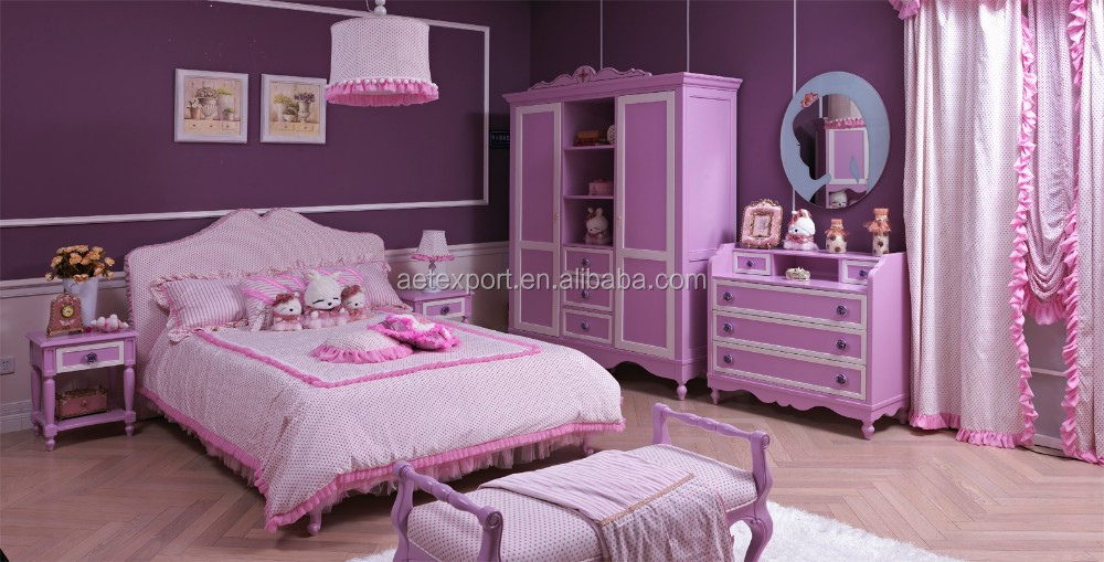 American wooden bedroom furniture purple princess style for Princess style bedroom furniture