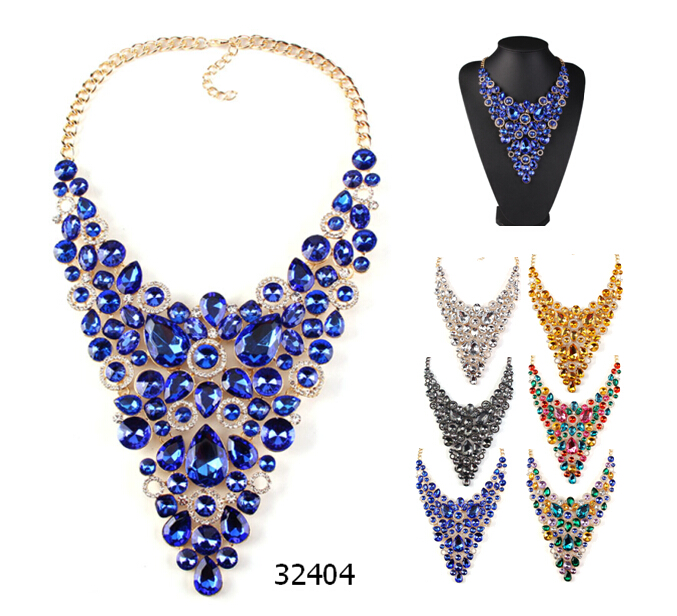 statement V shape party jewelry colorful crystal evening wear necklace 32404