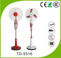 "Good sellling 16"" emergency DC/AC Rechargeable stand fan with LED light"