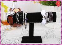 Black velvet T-bar bracelet display jewelry holder, watch display rack