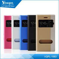 Veaqee wholesale leather wallet mobile phone case with 2 window