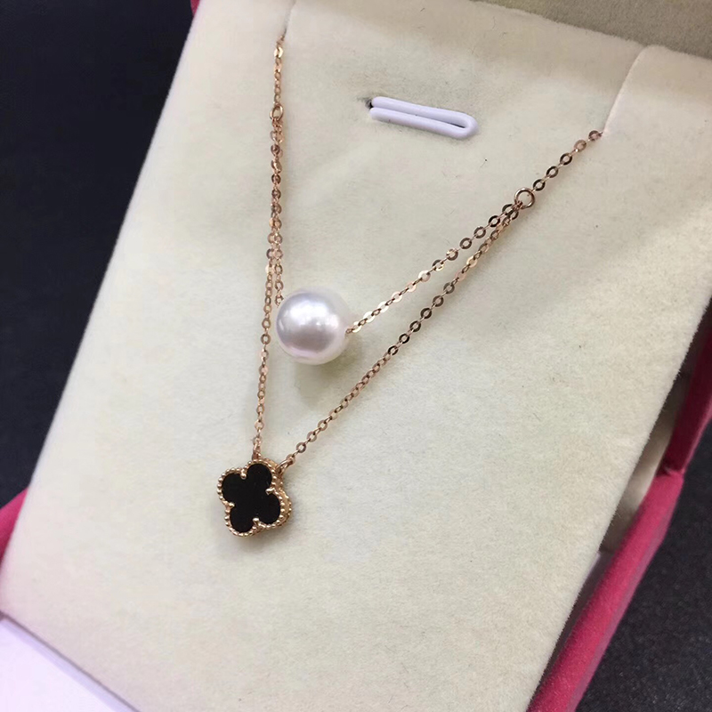 Sinya Hot 18k gold four leaf natural pearl pendant charm necklace for women white or black color optional Fine jewelry Hotsale (10)