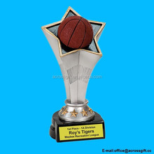 "Personalized 7"" Basketball Rising Star Resin Trophy"