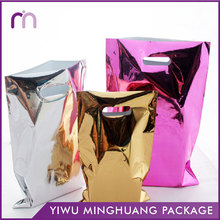 Design Shopping Grocery Silver Pink Yellow Die Cut Aluminum Foil Glossy Plastic Foil Bags