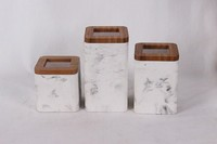 Marble finish decorative sealed storage boxes with lid