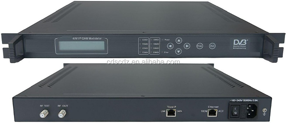 4in1 IP QAM DVB-C iptv dvb modulator with Multiplexer Scrambler(TS IP/multicast gigabit in,4*DVB-C RF out)