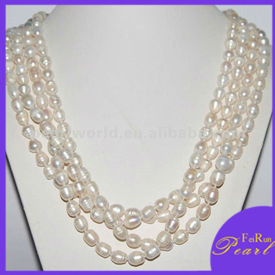 fashion 100 inches 9-10mm rice pearl jewellery design