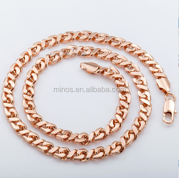 6.5mm Mens Womens Chain Flat Curb Cuban Link Chain Rose Gold Filled GF Necklace Chain