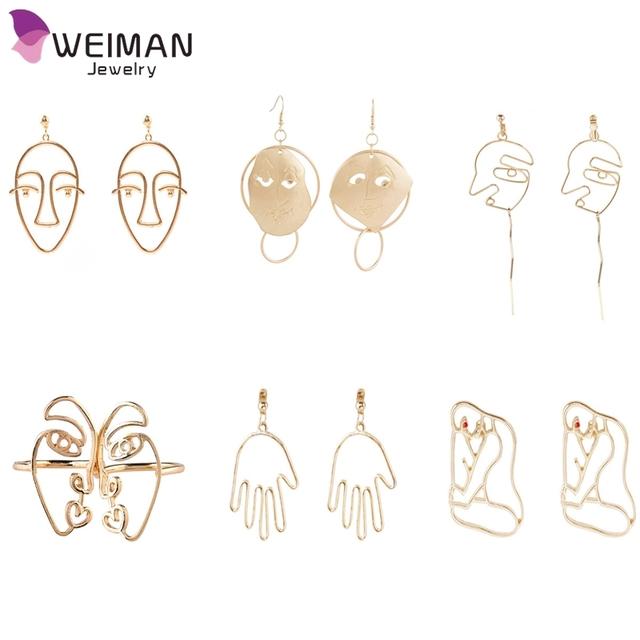 Yiwu Factory Wholesale Top Trendy Drop Earrings Fashion Alloy Men's Face Earring for Women Bijoux