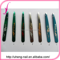 Customized printed pattern rubber grip eyebrow tweezers