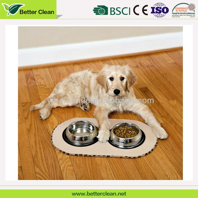 Flooring pad keep clean for dog bowl used pet food dish mat