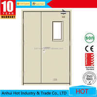 Steel Security Door Flush Design Fire Rated Steel Door of 90 minutes Glass Design