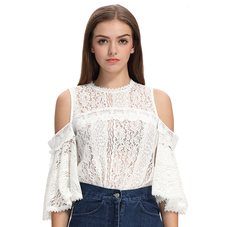 Fashion Elegant Flare Sleeve Round Neck Women Lace Tops Summer Sexy Off Shoulder Hollow Out Lady White Lace Blouse