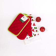 Best price printed cotton christmas 3pcs kitchen towel set