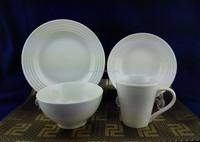 16pcs white embossed ceramic dinner set / high quality ceramic porcelain embossed dinner set